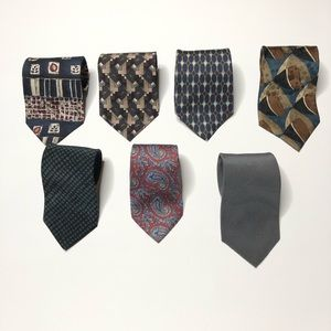 Lot of 7 Ties - All Dark Colors, some silk